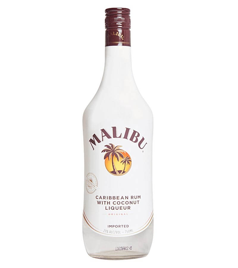 Malibu, bottle on white
