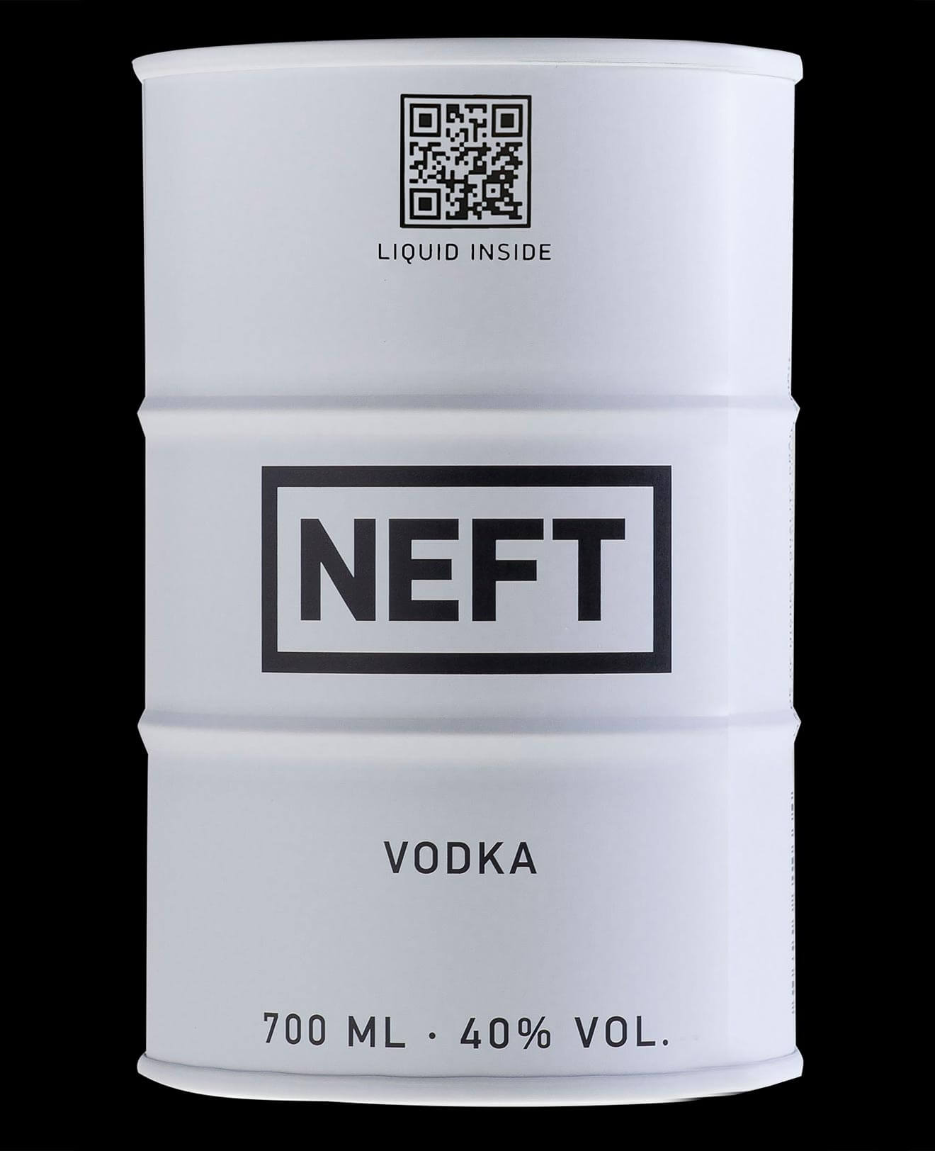 NEFT Vodka, white barrel on black