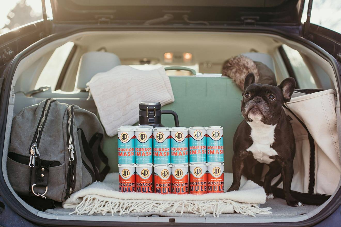 Plain Spoke Cocktails to Go, trunk with cans and puppy