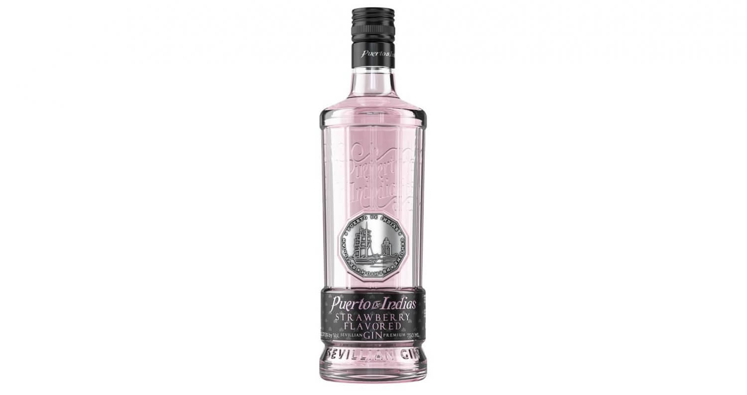 Puerto de Indias Strawberry Gin, bottle on white, featured image
