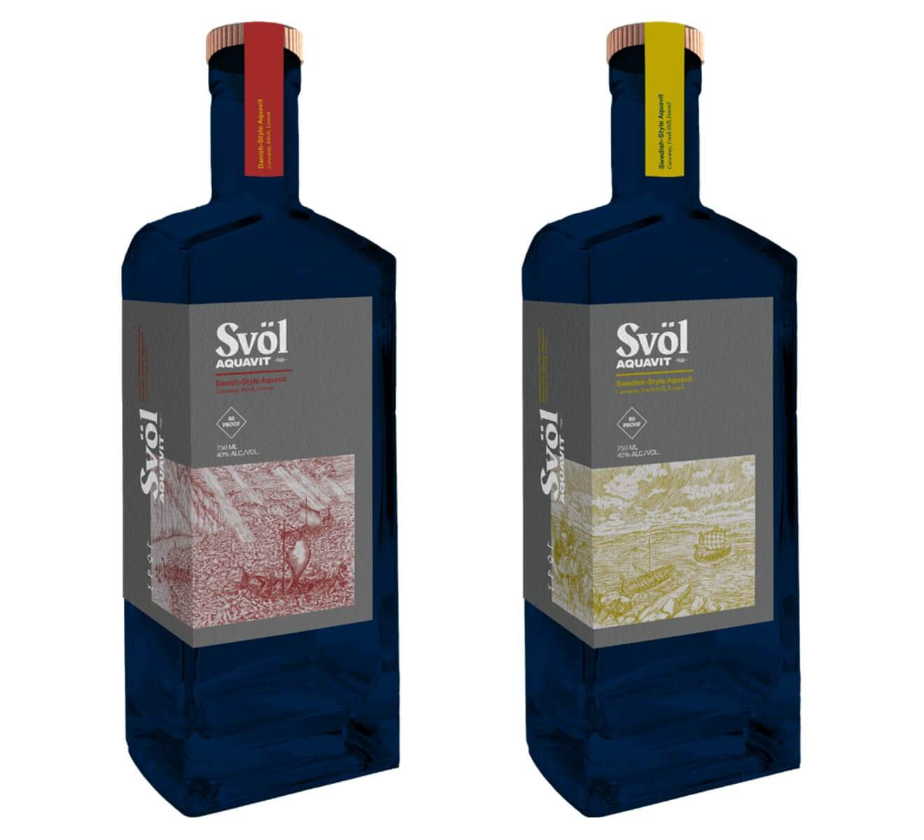 Svöl Aquavit Danish-Style and Swedish-Style bottles on white