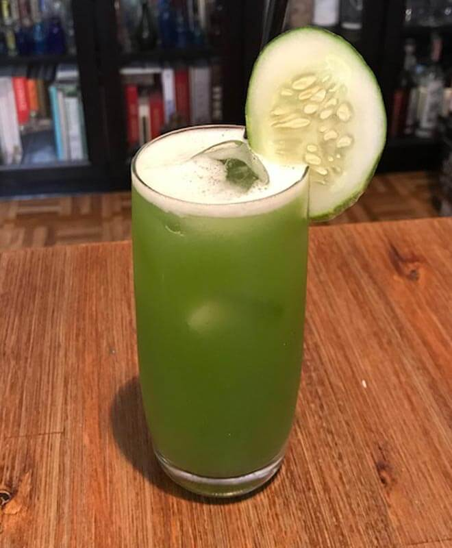 The Green Russian, cocktail with garnish