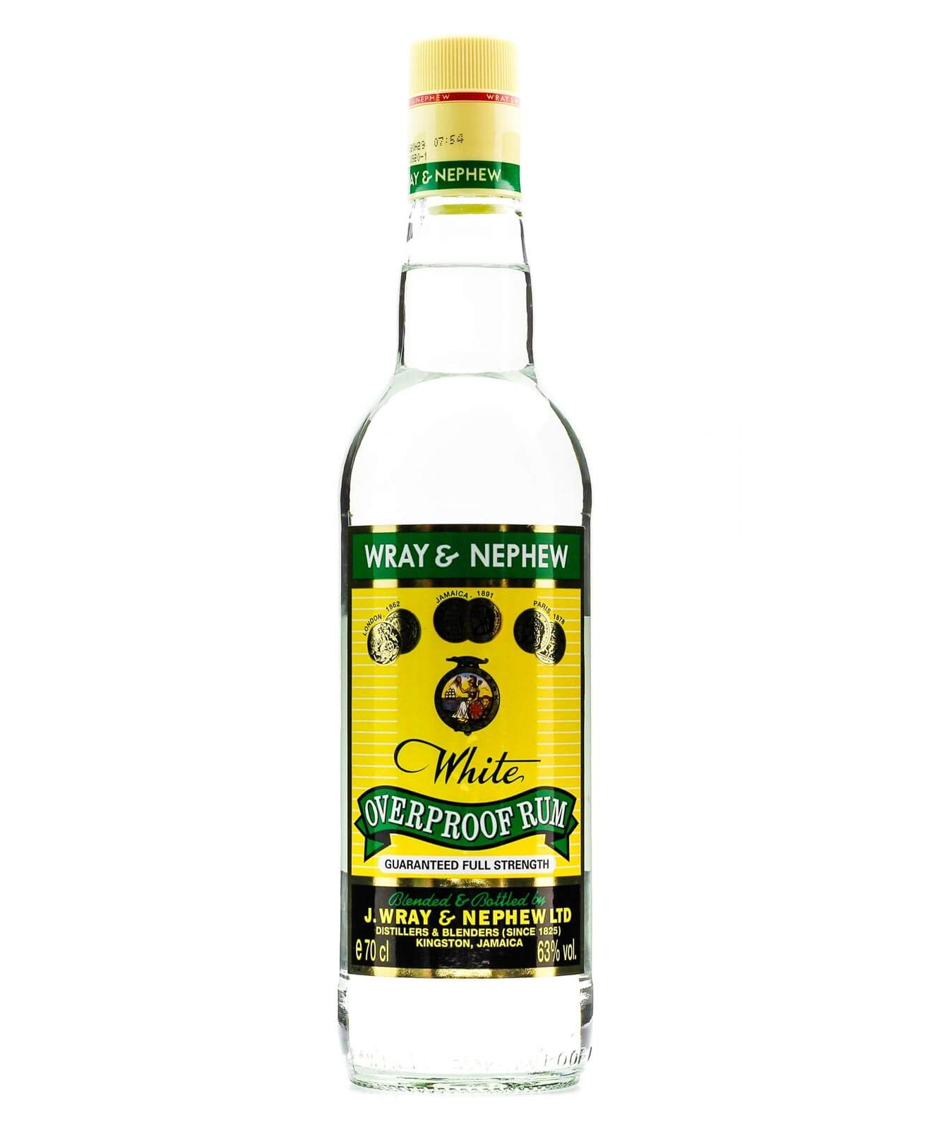 Wray & Nephew White Overproof Rum, bottle on white