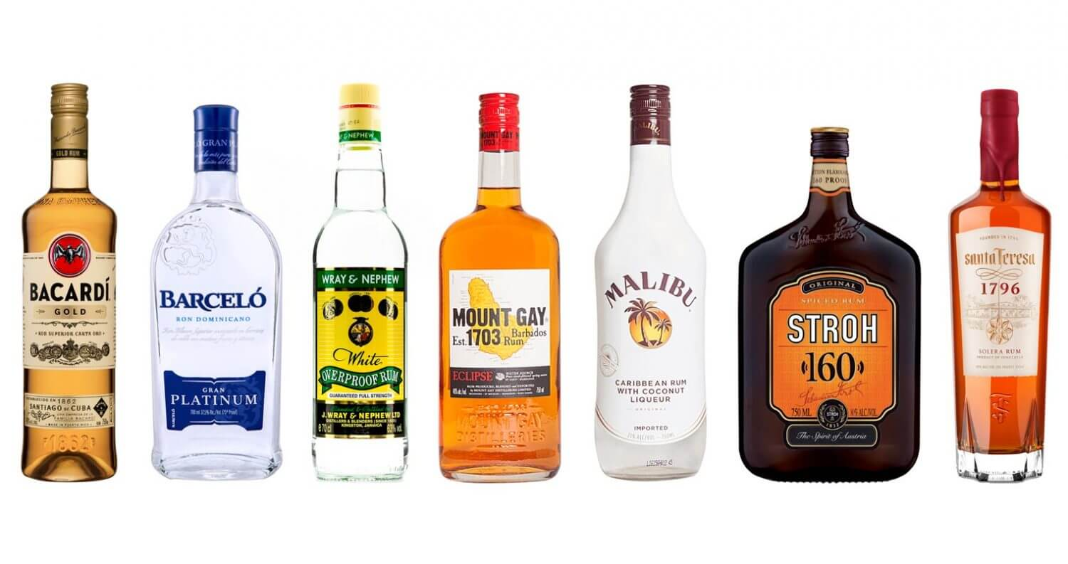 Best Rums for a Piña Colada, bottles on white, featured image