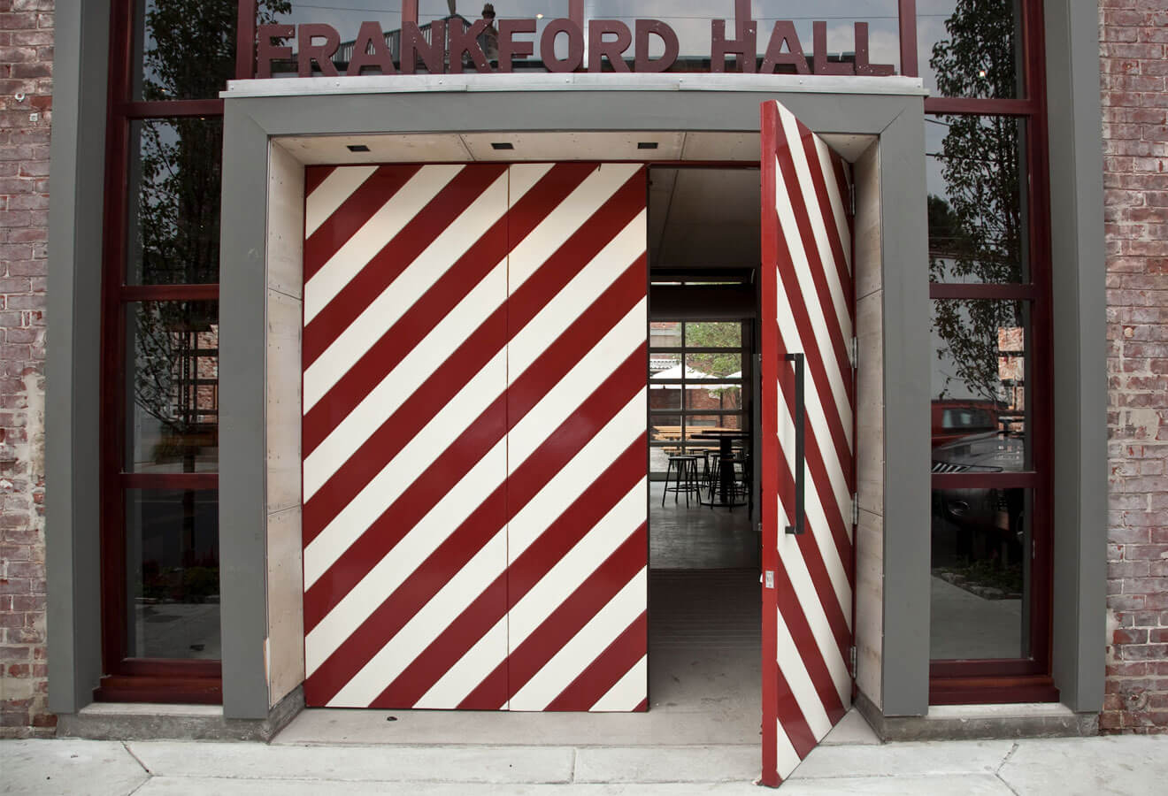 Frankford Hall, front entrance, candy cane stripe door