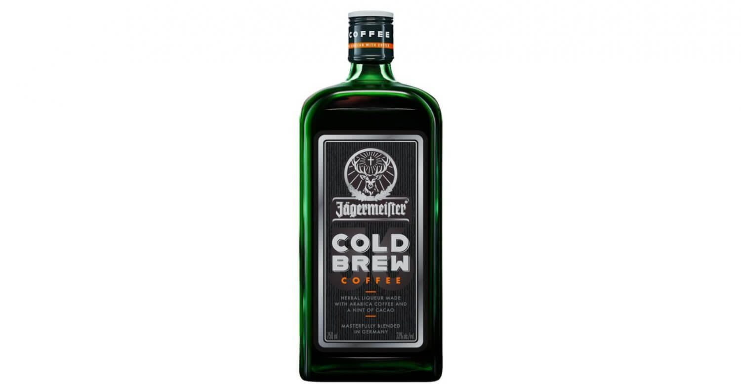 Jägermeister Cold Brew Coffee Liqueur, bottle on white, featured image