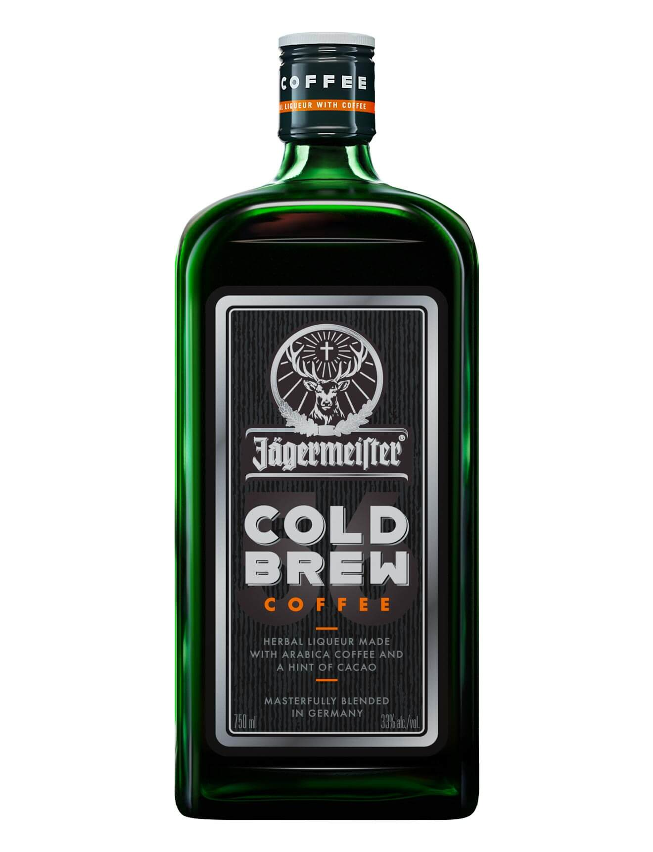 Jägermeister Cold Brew Coffee Liqueur, bottle on white