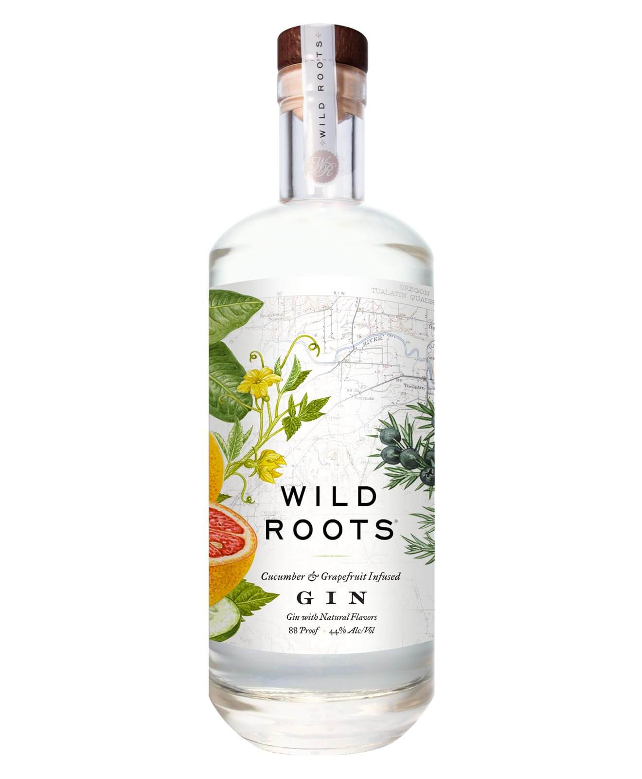 Wild Roots Cucumber & Grapefruit Gin, bottle on white