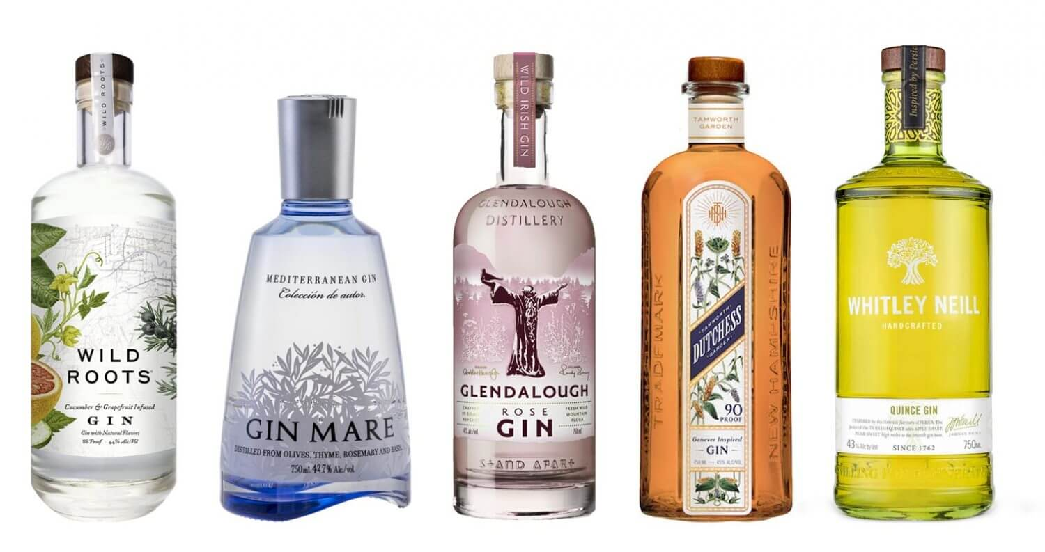 7 Interesting Gins to Try, bottles on white, featured image