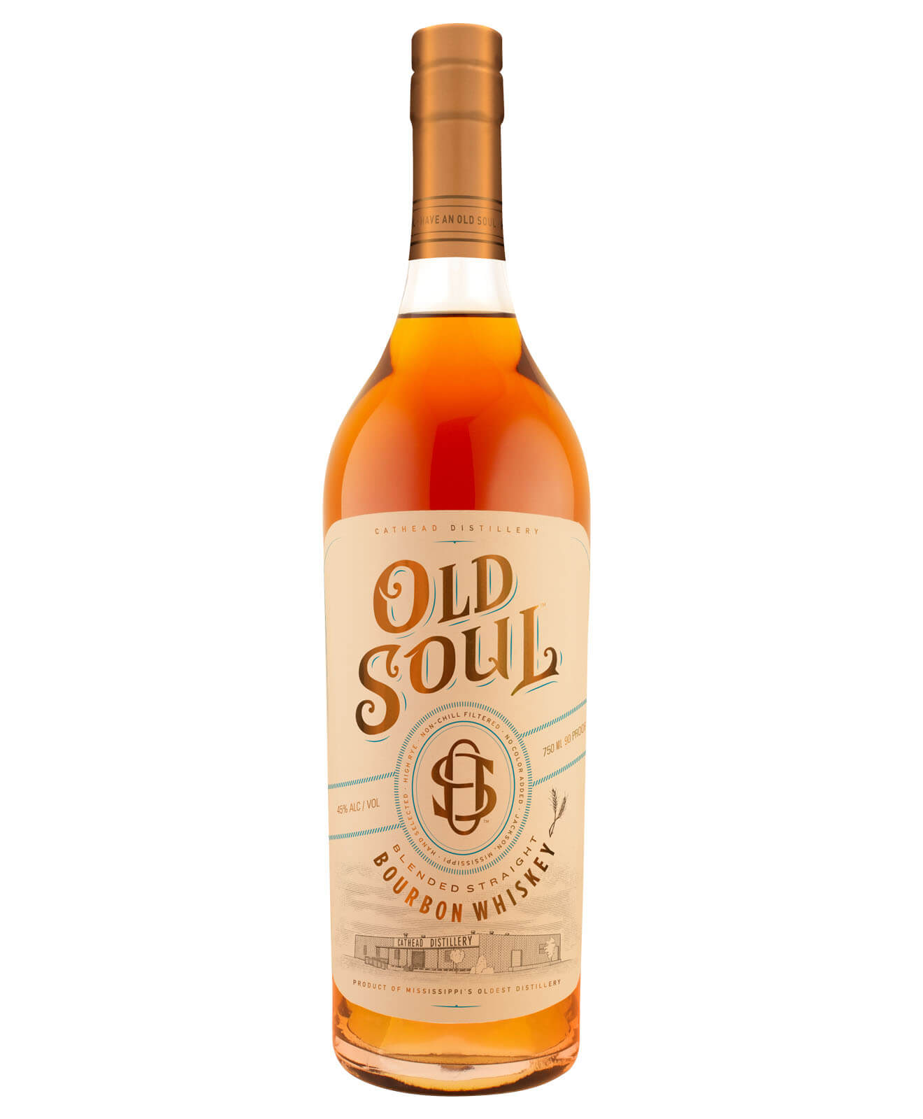 Cathead Old Soul Bourbon Whiskey, bottle on white
