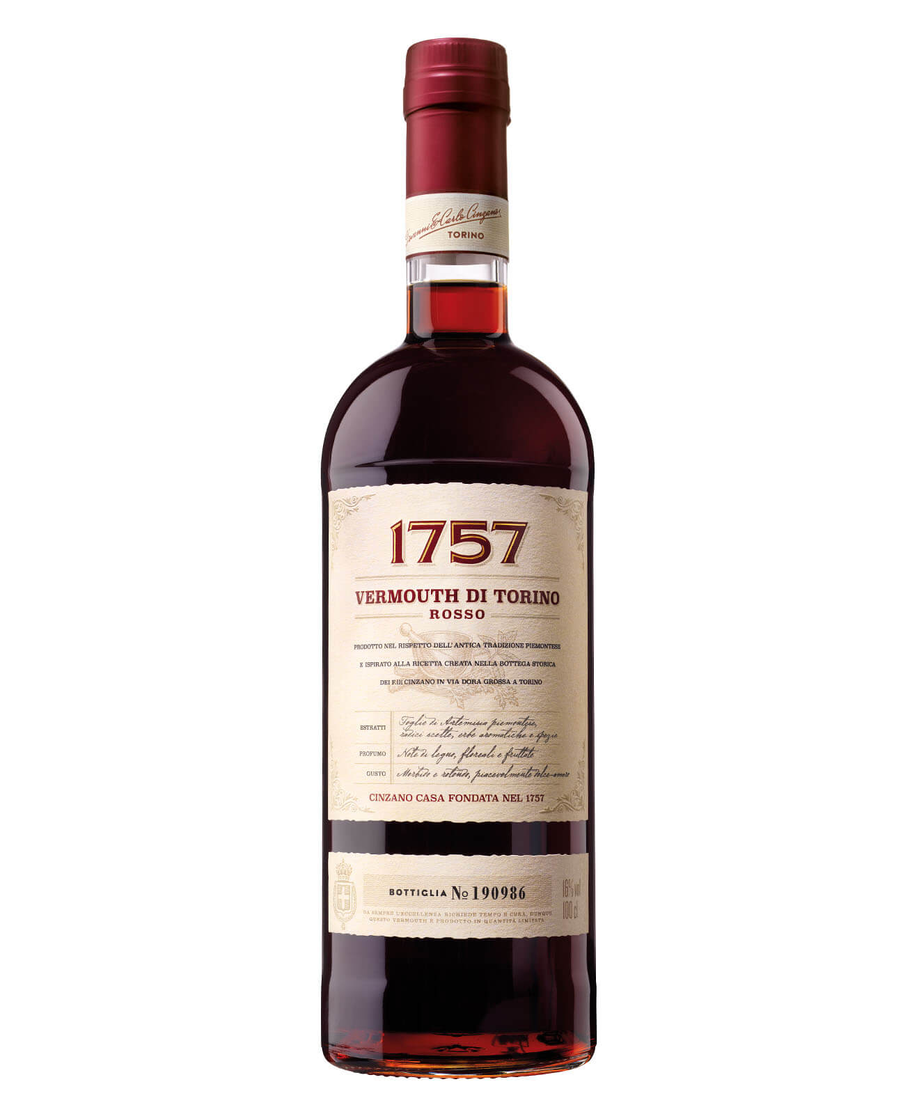 Cinzano 1757 Vermouth di Torino, bottle on white
