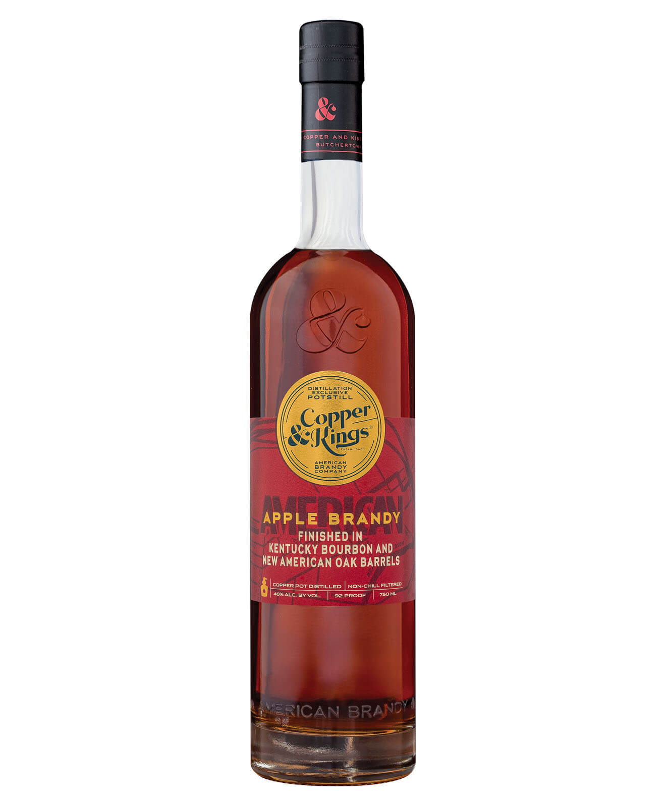 Copper & Kings American Apple Brandy, bottle on white
