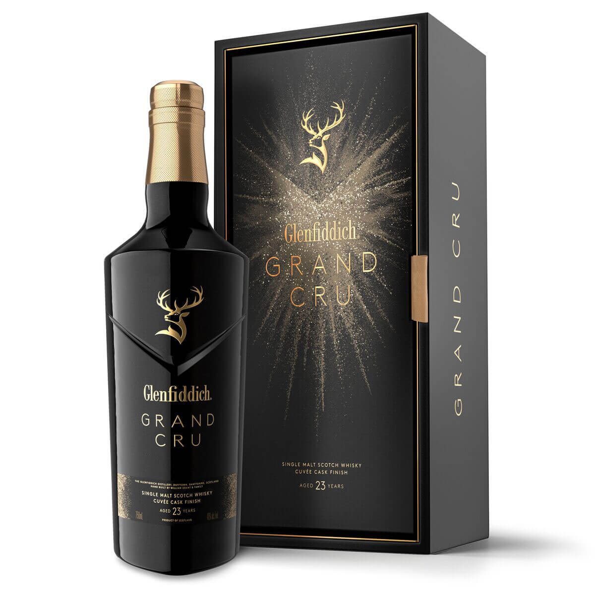 Glenfiddich Grand Cru, bottle and package on white