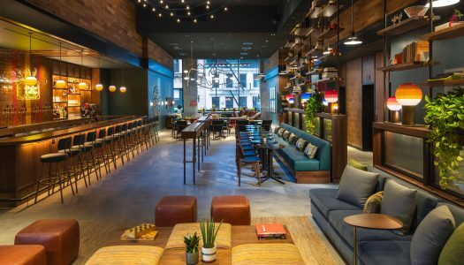 Inside Recreation, the Sprawling Lobby Bar at the Moxy NYC Downtown Hotel