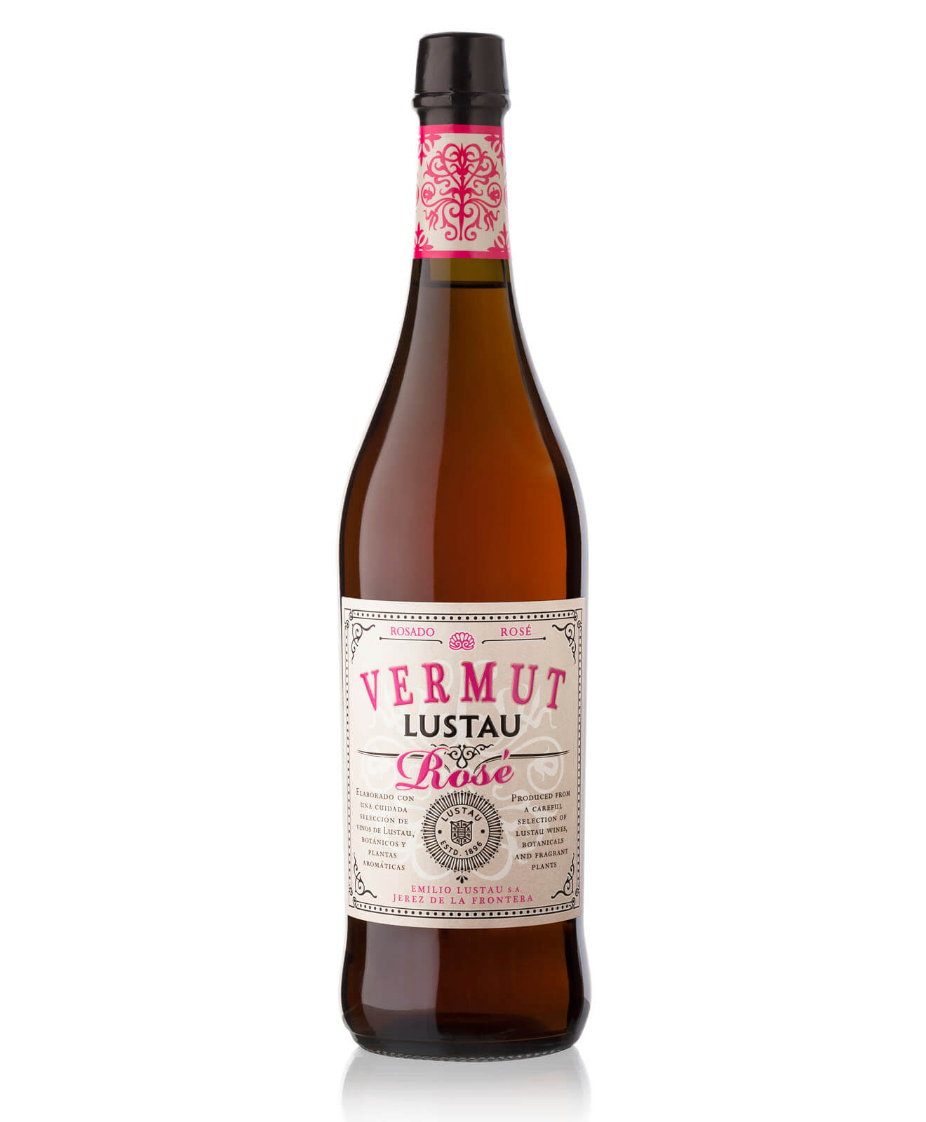 Lustau Vermut Rosé, bottle on white