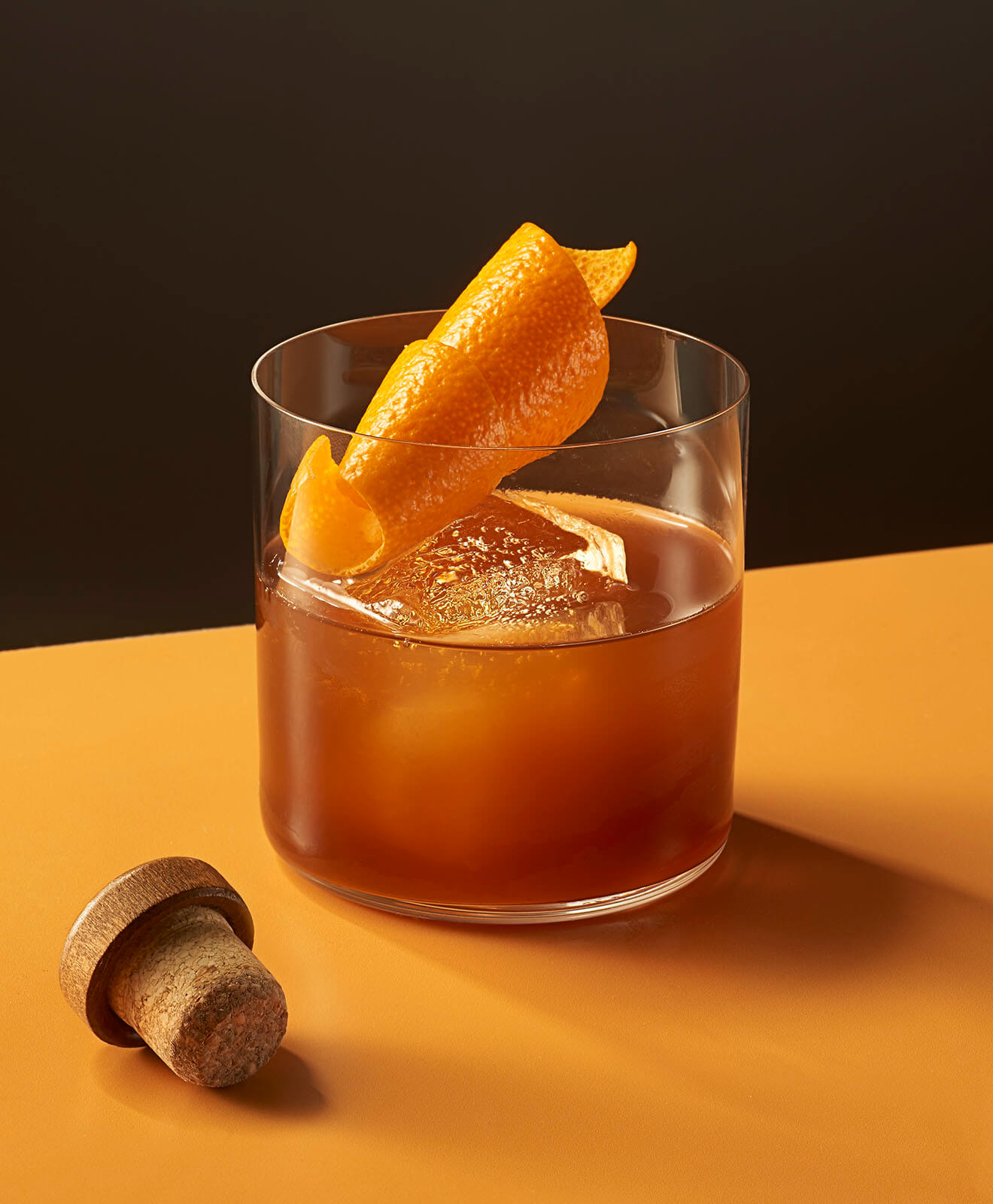 Cold Fashioned Cocktail, rocks glass, cork