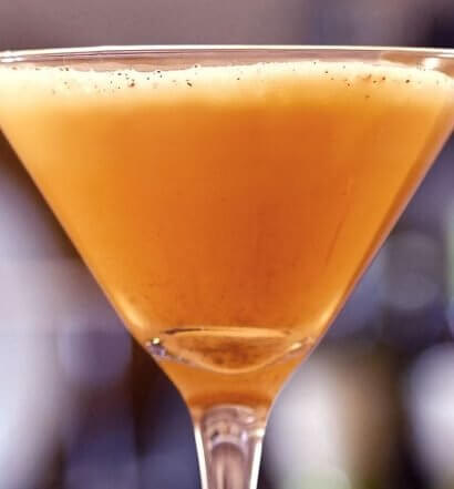 RumChata Pumpkin Pie Martini, cocktail in martini glass, featured image