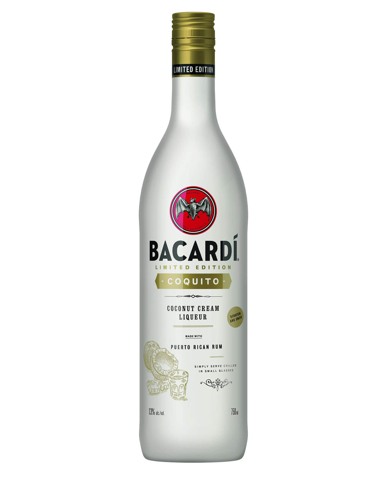 BACARDÍ Coquito, bottle on white