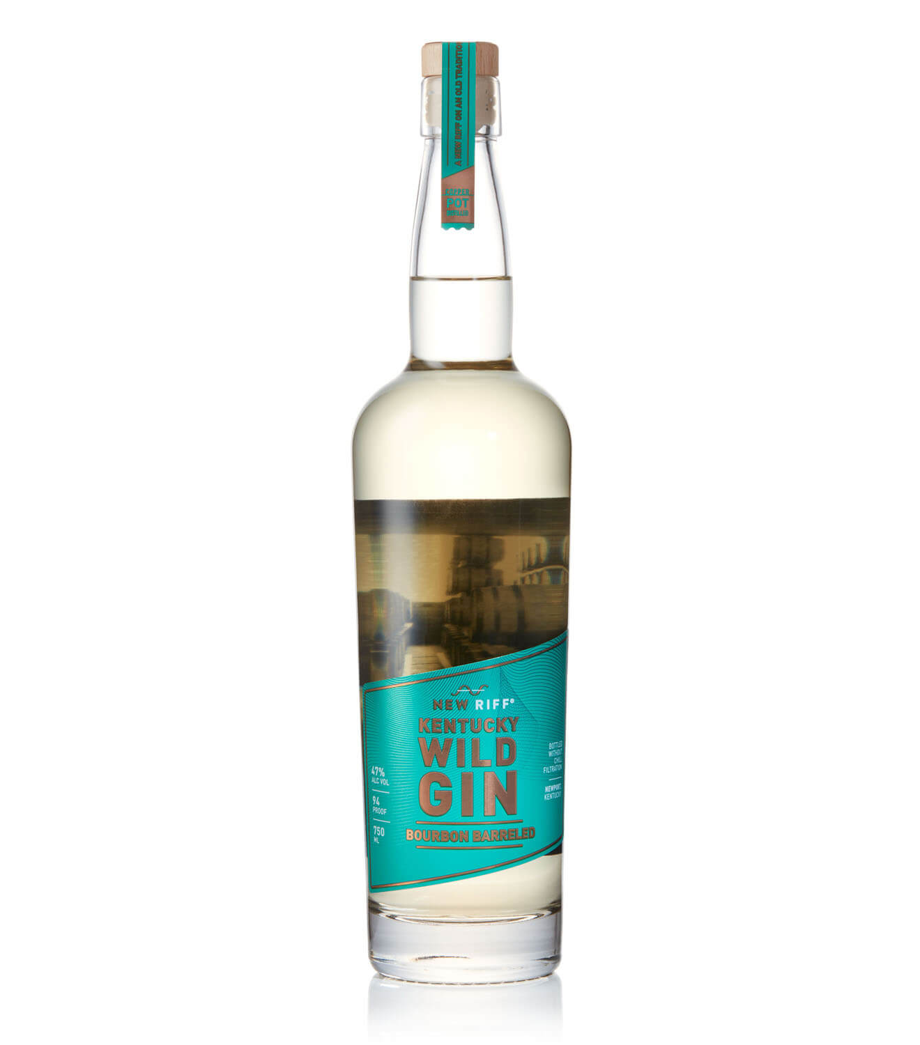 New Riff Wild Gin Bourbon Barreled, bottle on white