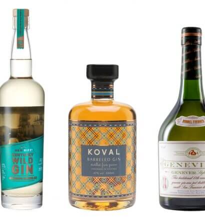Barrel-Aged Gins And Genevers, bottles on white, featured image