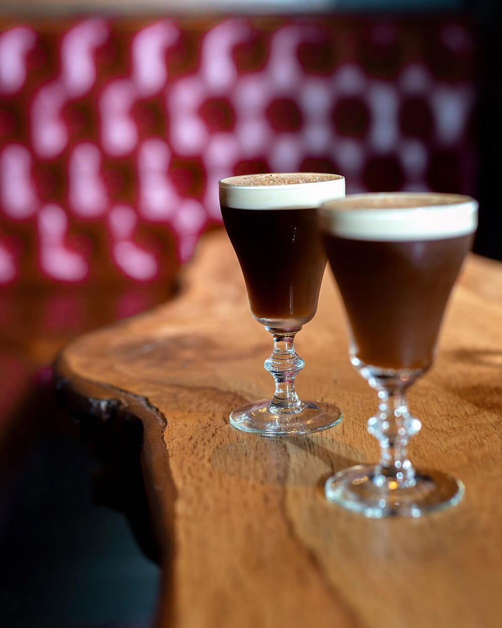 Belfast Coffee, cocktails on wooden table