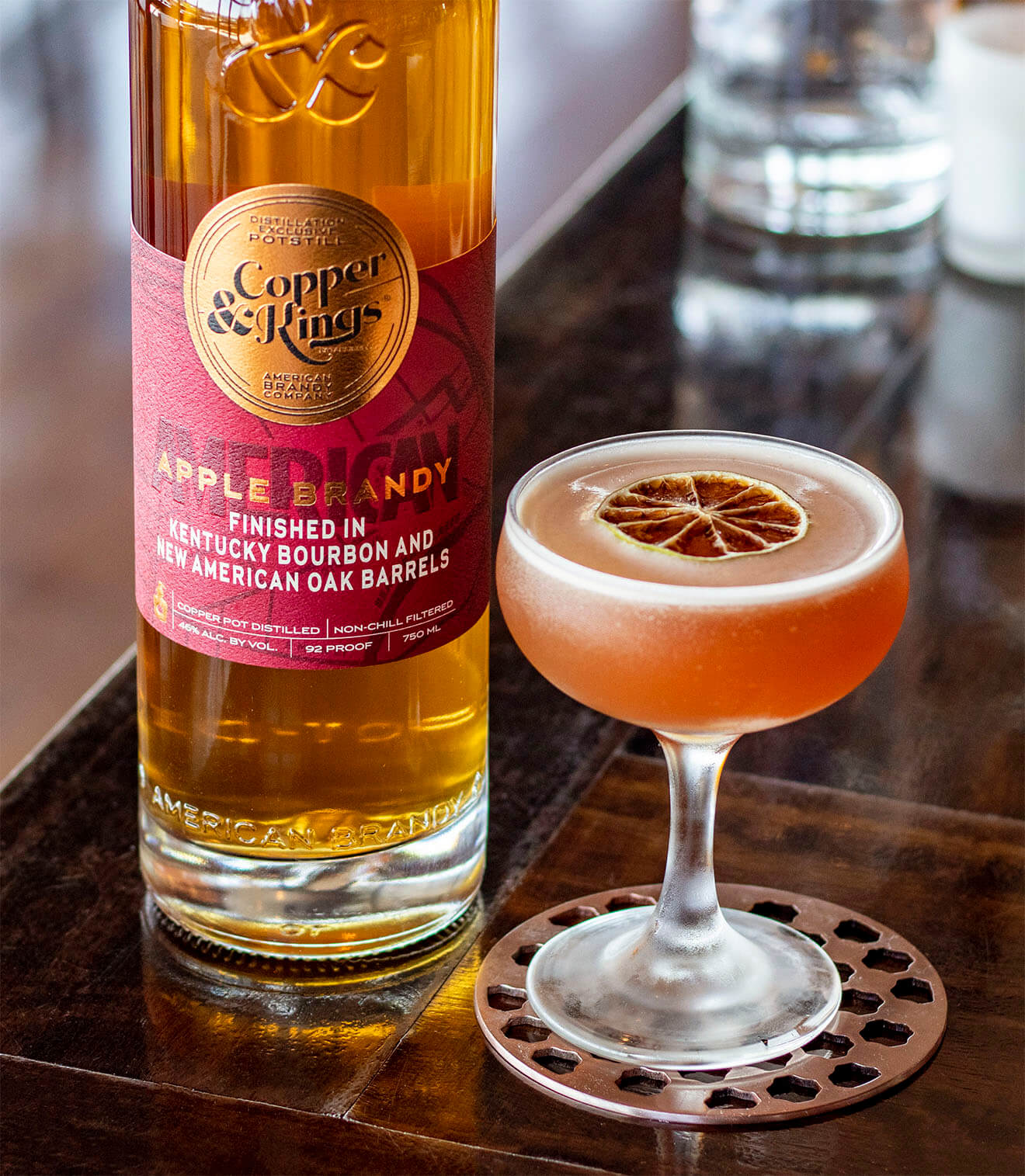 Craft Apple BrandyJack Rose, bottle and cocktail