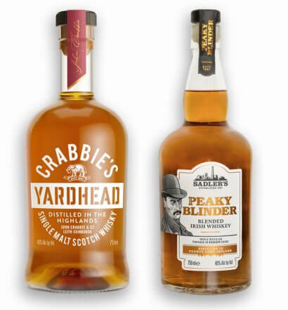 Crabbie's Yardhead Single Malt Scotch Whisky and Peaky Blinder Irish Whiskey, bottles on white, featured image