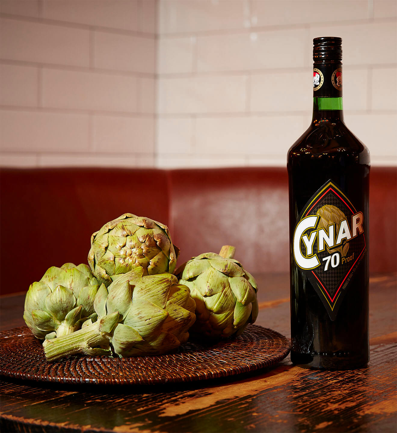 Cynar 70 Proof, artichokes and bottle