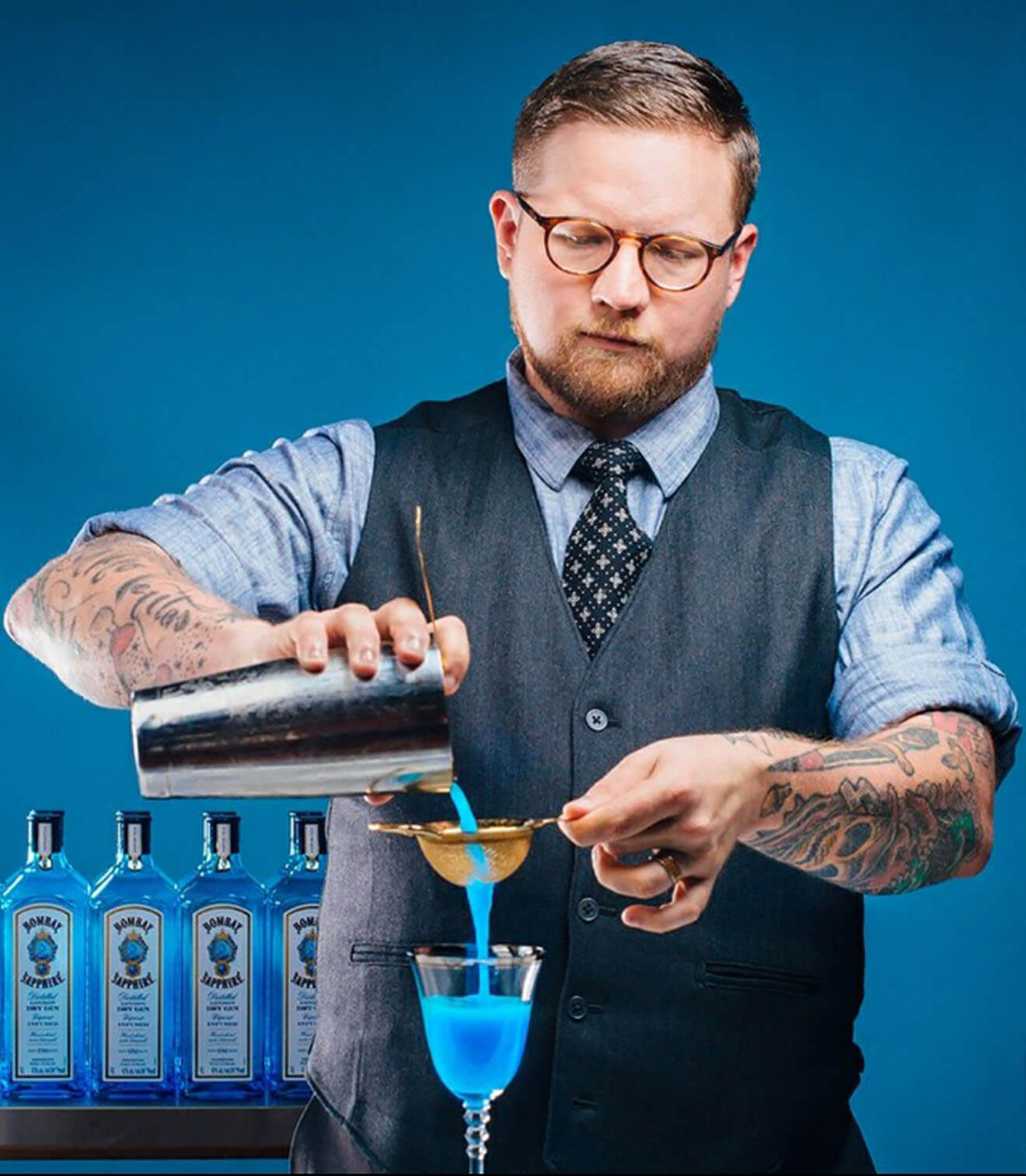 Houston Bartender Chris Morris Mixing Behind the Stick, portrait