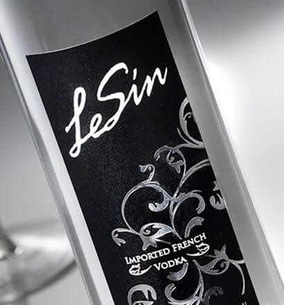 LeSin Vodka, bottle on grey with martini, featured image