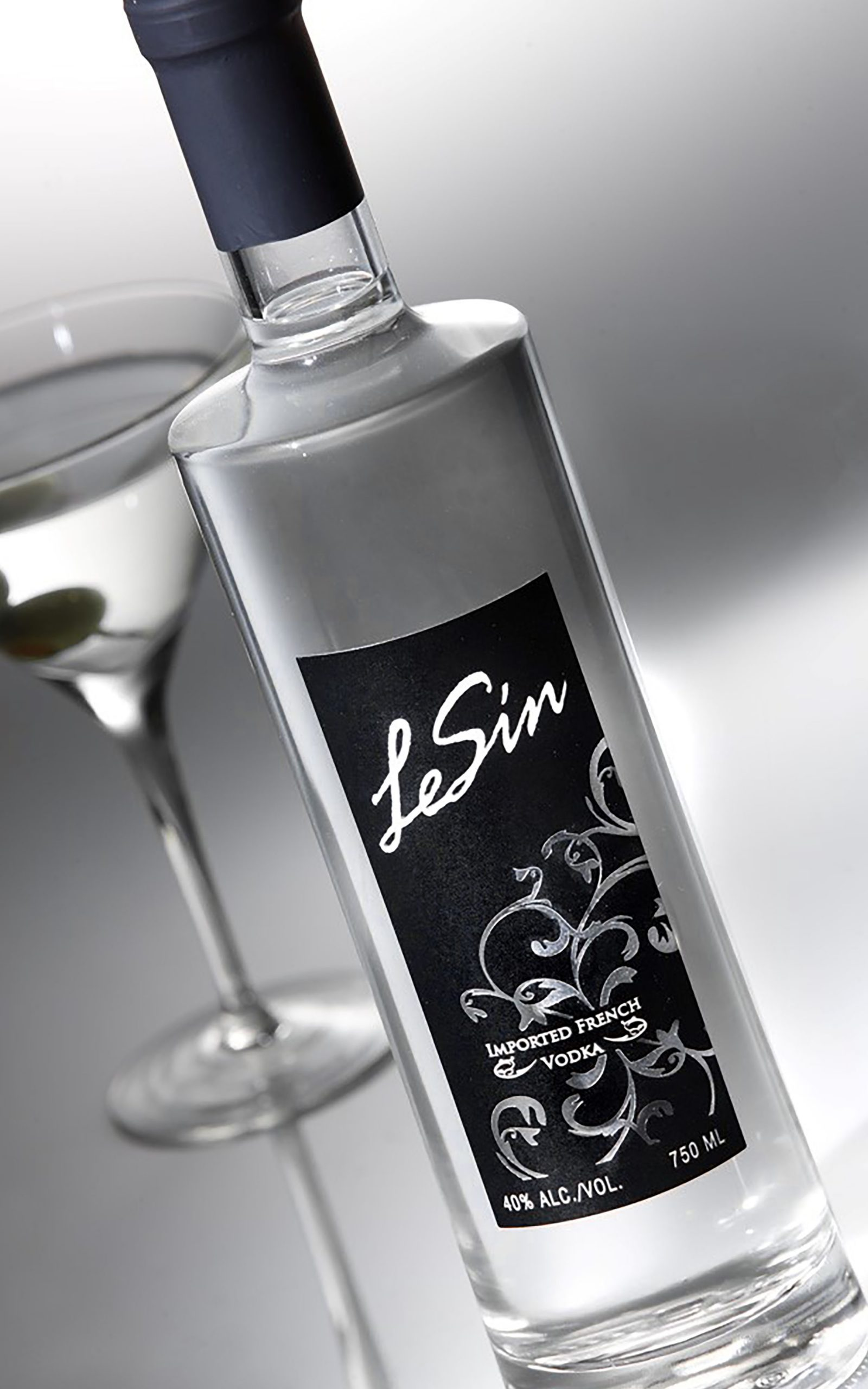 LeSin Vodka, bottle on grey with martini