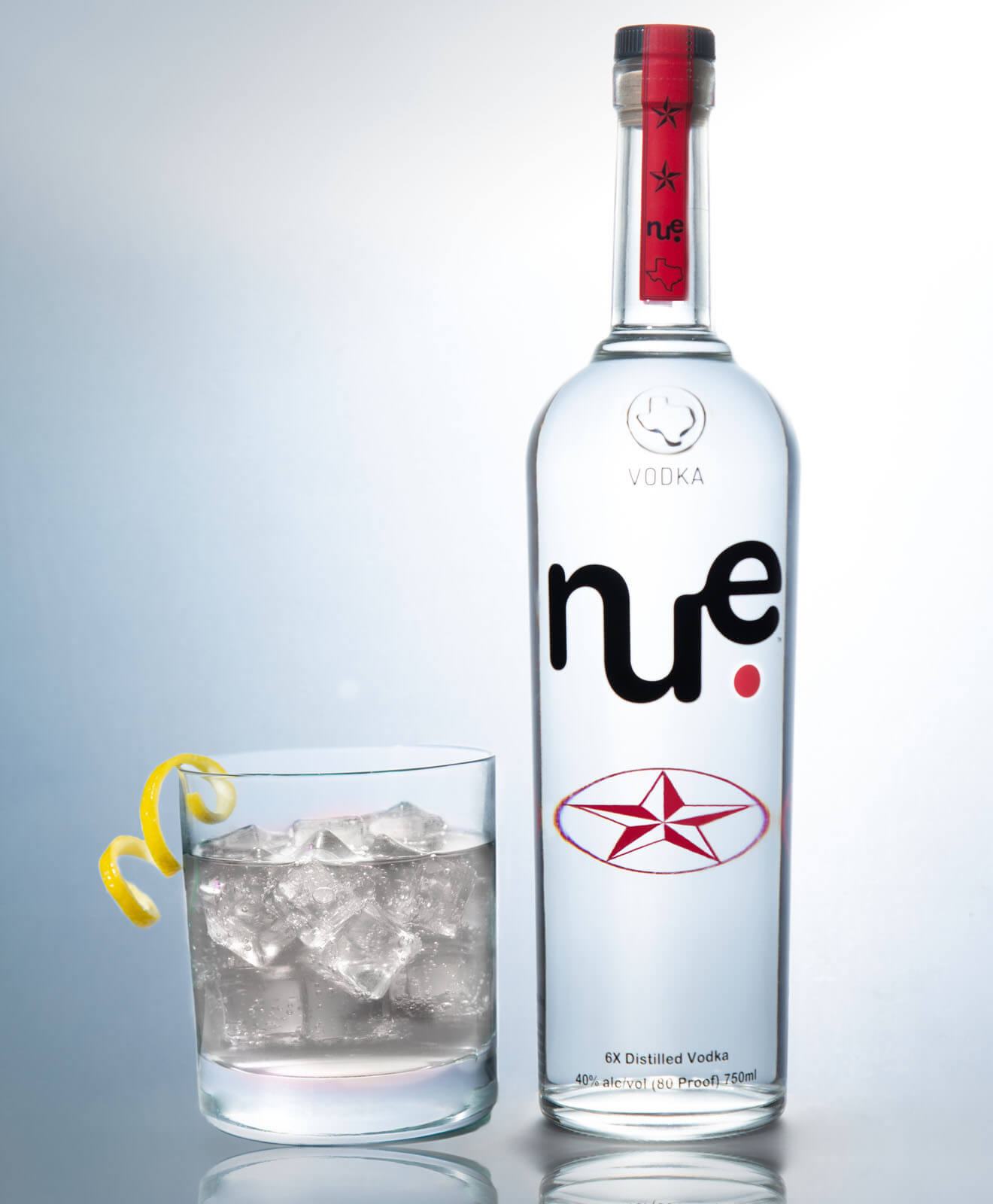 Nue Vodka, grey skies bottle on white