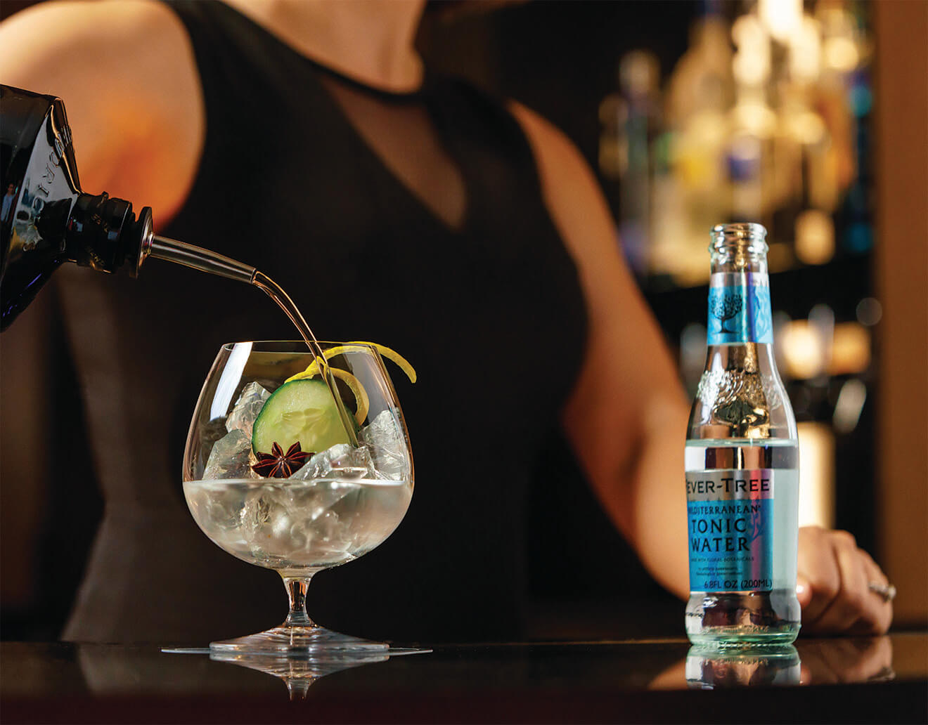Signature Gin & Tonic Served at Castell Rooftop Lounge