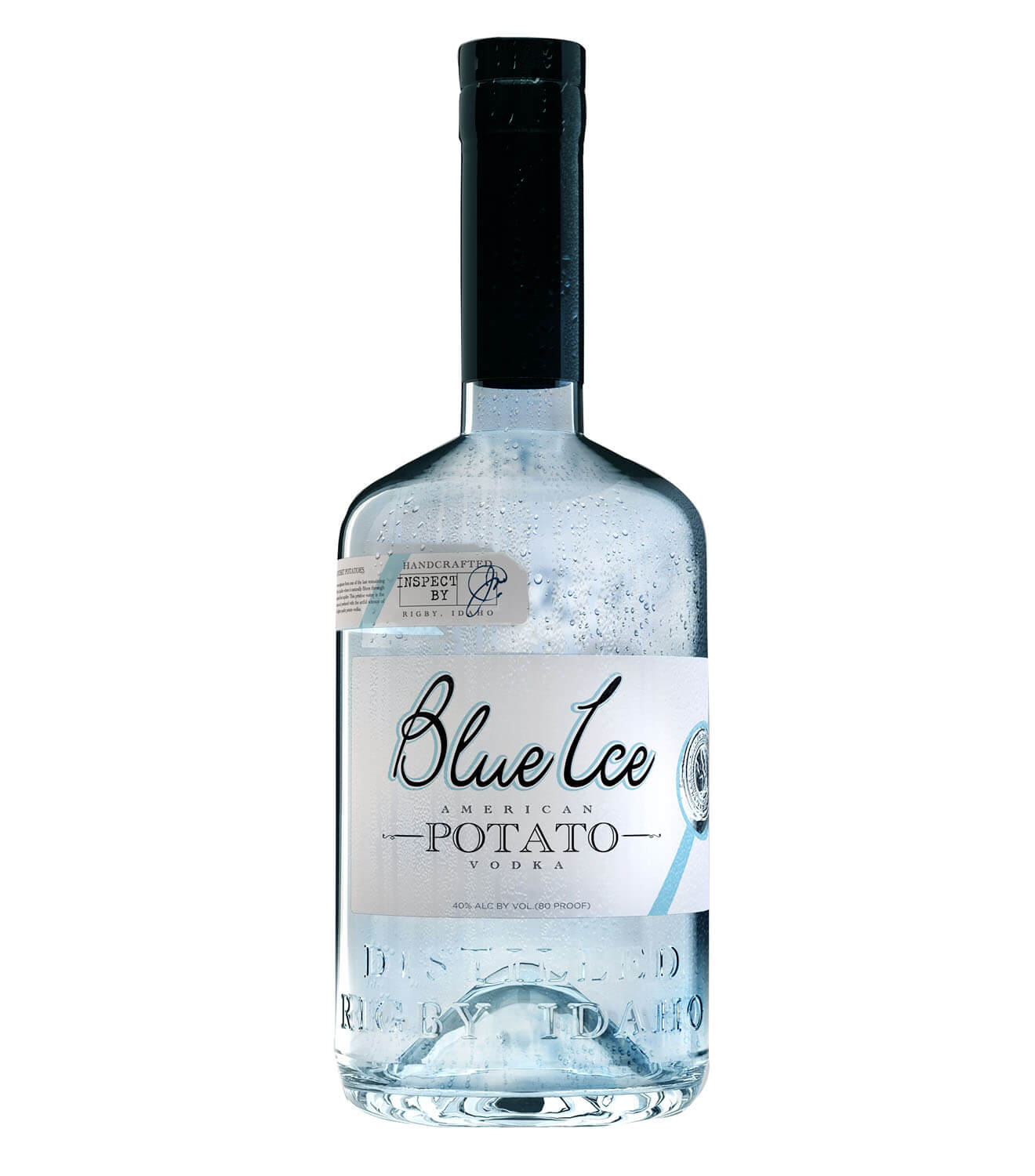 Blue Ice Vodka, bottle on white