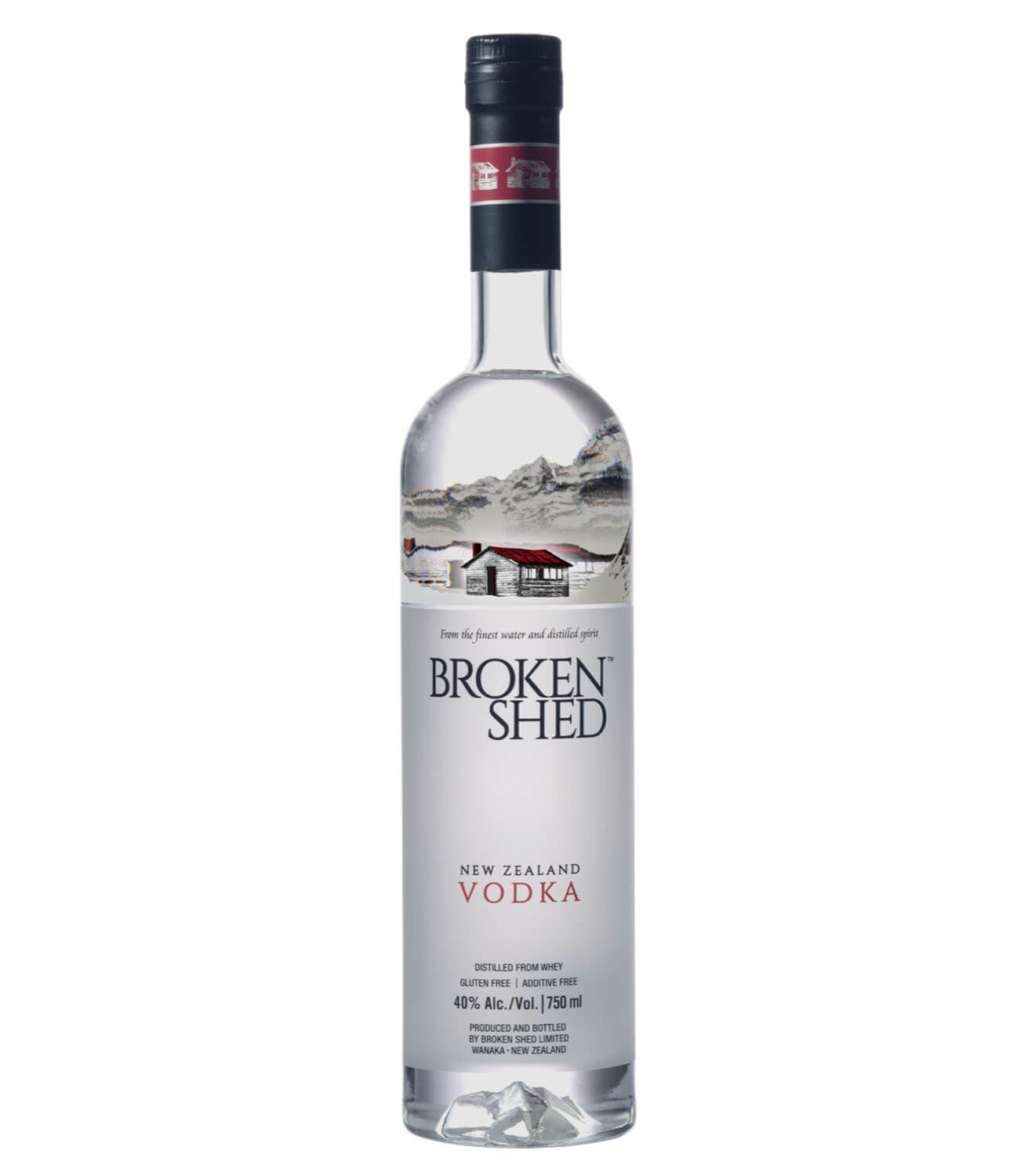 Broken Shed Vodka, bottle on white