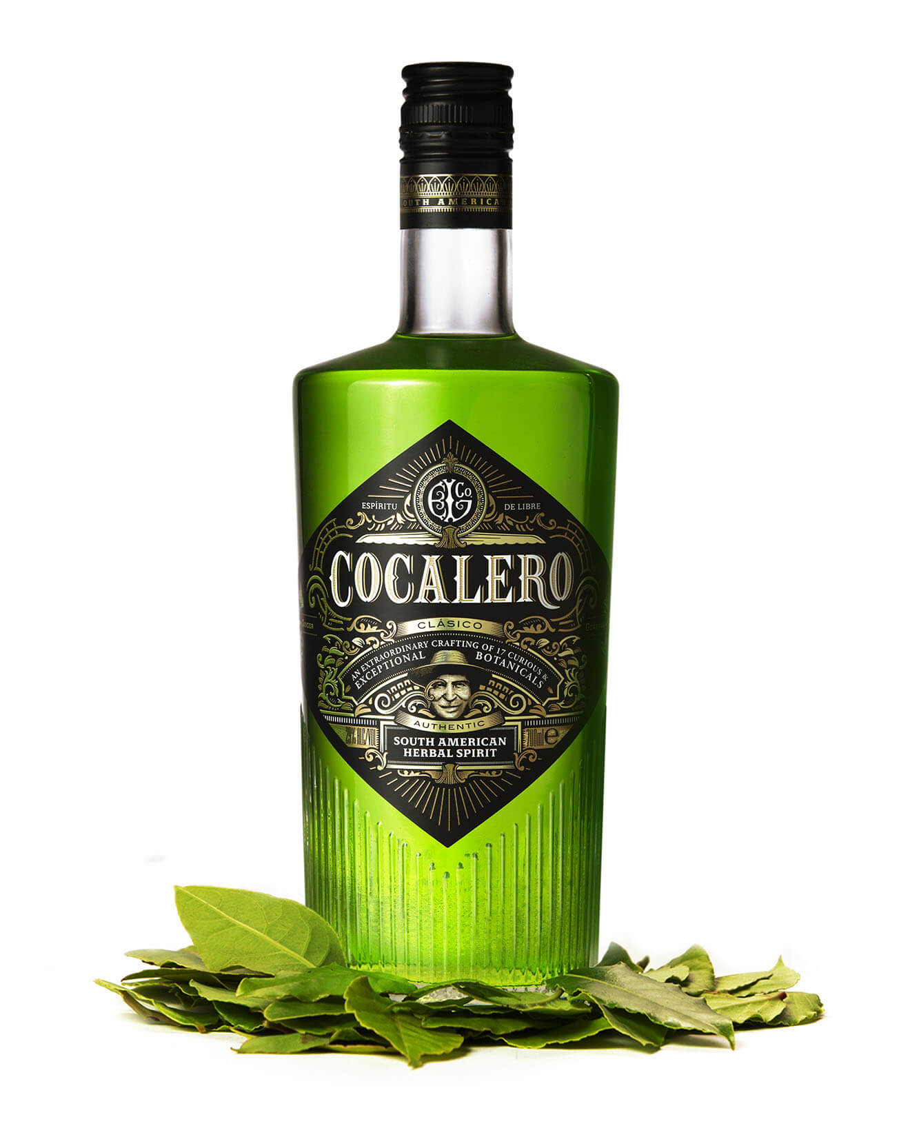 Cocalero bottle, leaves garnish