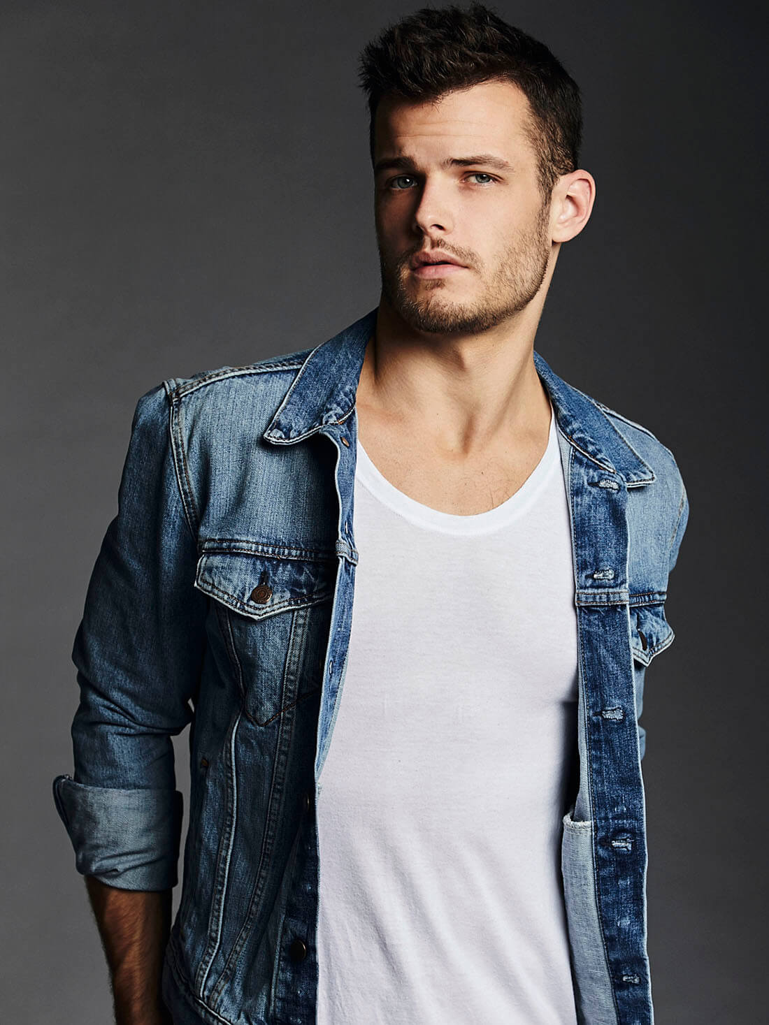 Chillin' with Michael Mealor, denim shirt, portrait