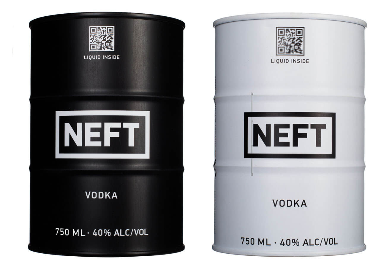 Neft Vodka Barrels, on white background
