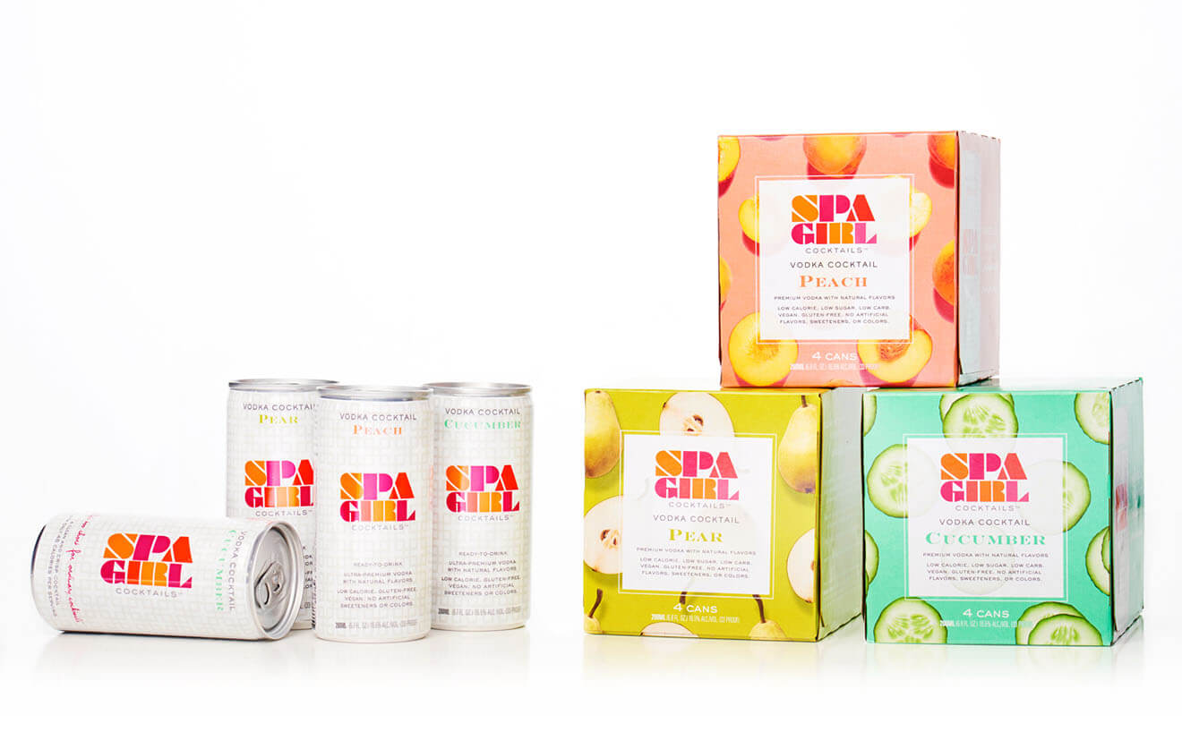 Spa Girl Cocktails, cans, packaging on white