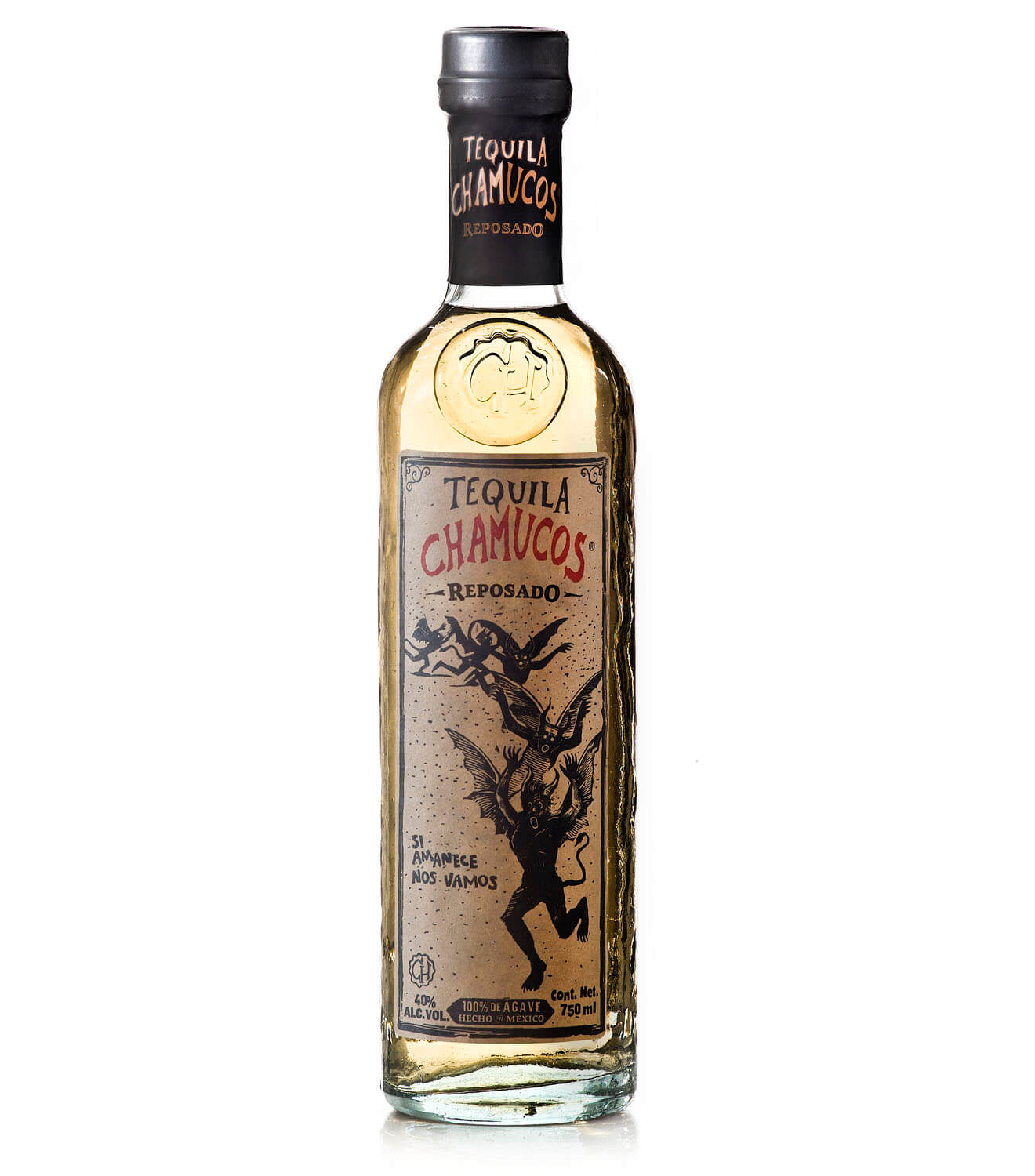 Tequila Chamucos Reposado, bottle on white