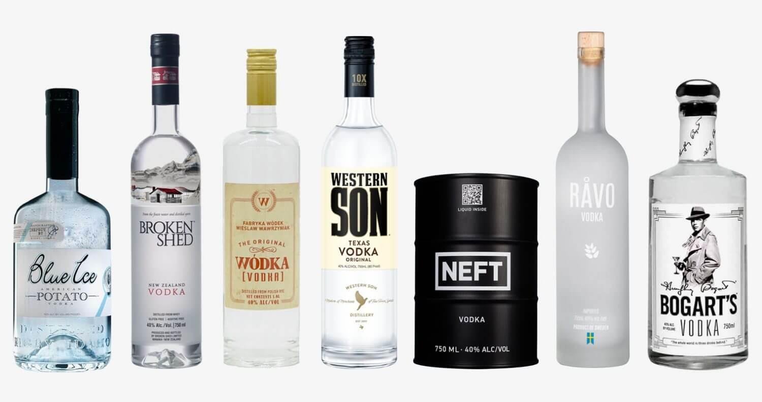 Top 7 Vodka Brands for Delivery, featured image, bottles on white