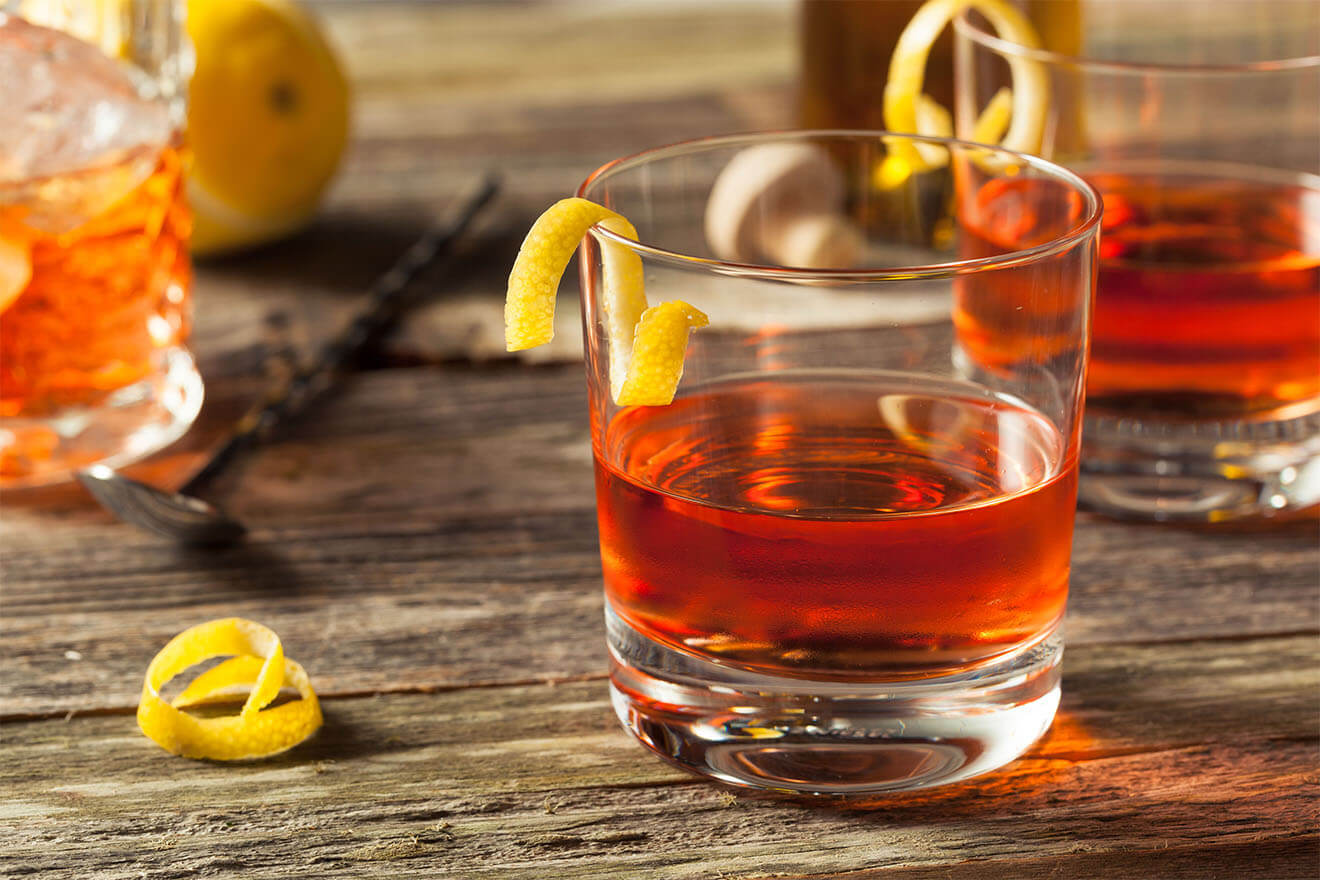 Sazerac cocktail with garnishes