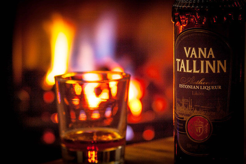 Vana Tallinn, fireplace background, bottle and drink