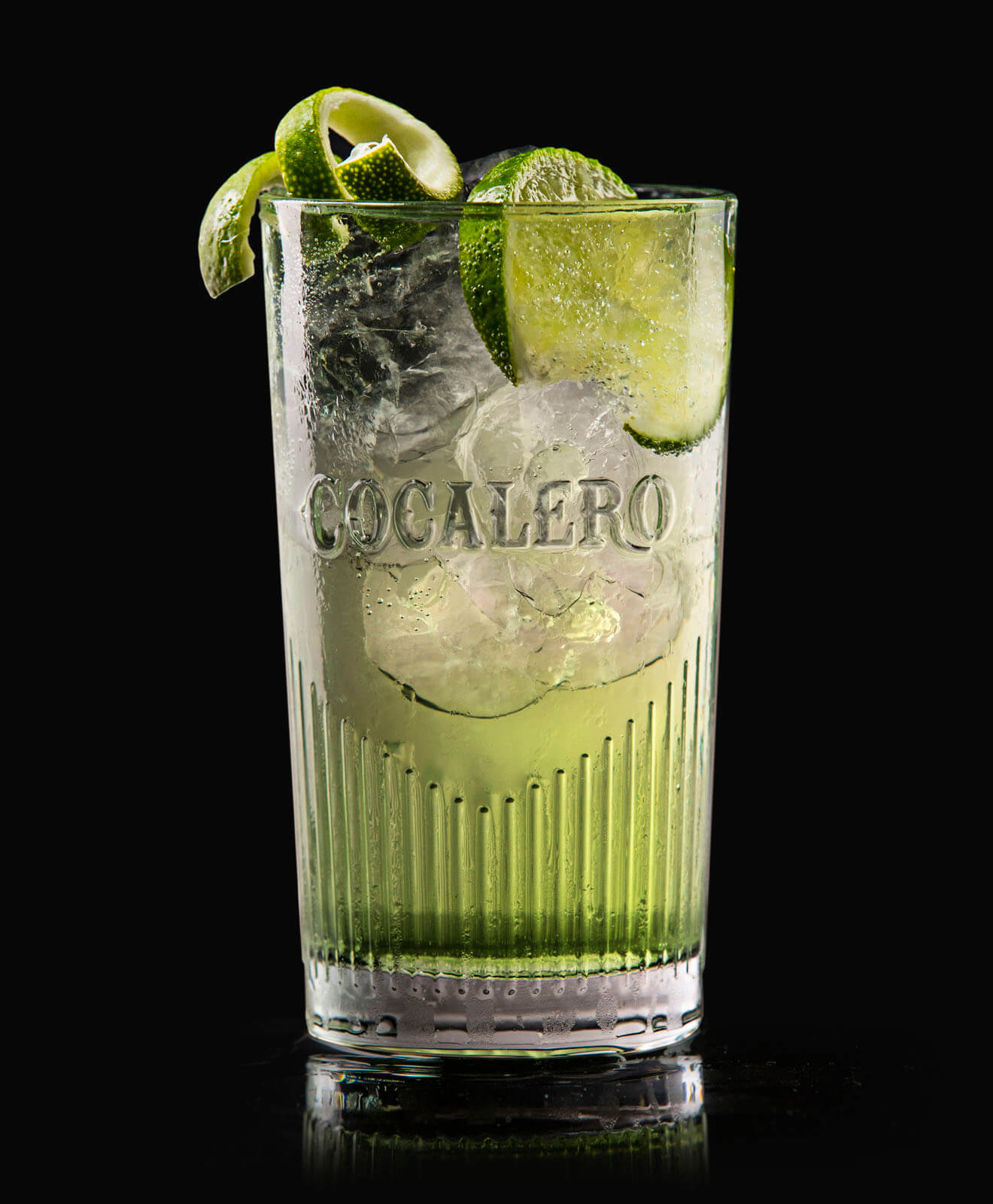 Cocalero Highball, cocktail with garnishes, highball glass