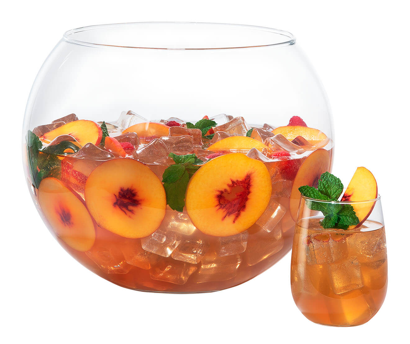 Freedom of Peach, bowl cocktail and glass