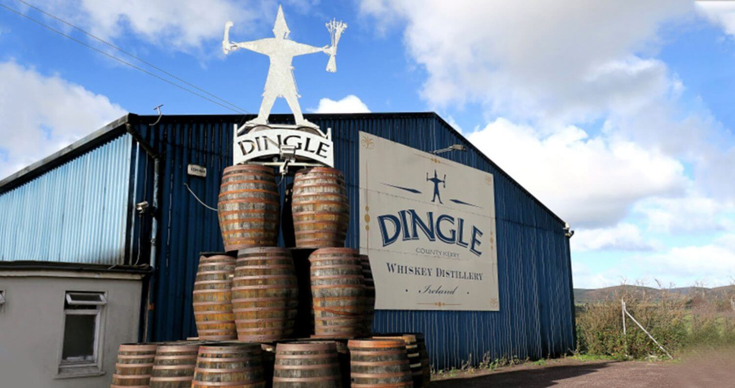 Dingle Distillery, front view, blue sky, featured image