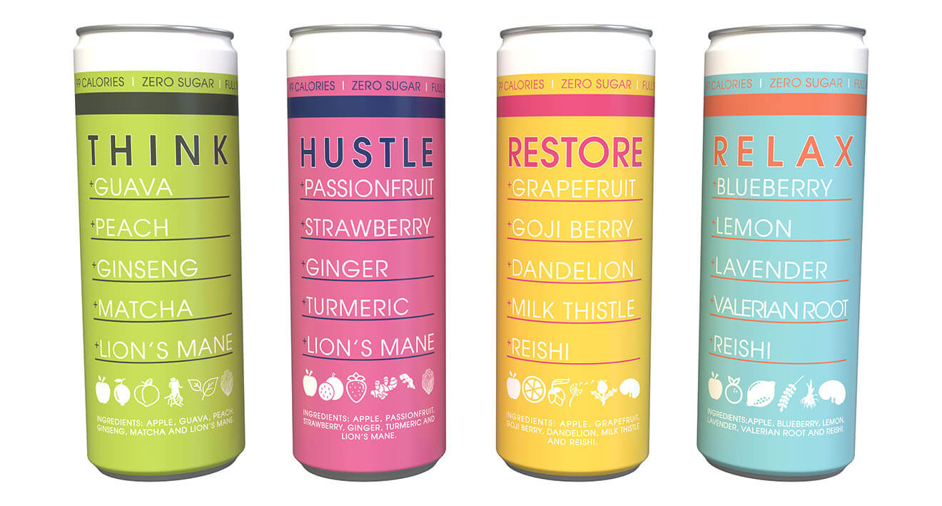 Pulp Culture flavors, cans on white