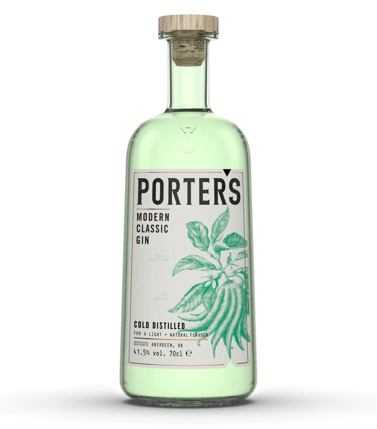 Porter's Gin Classic, bottle on white