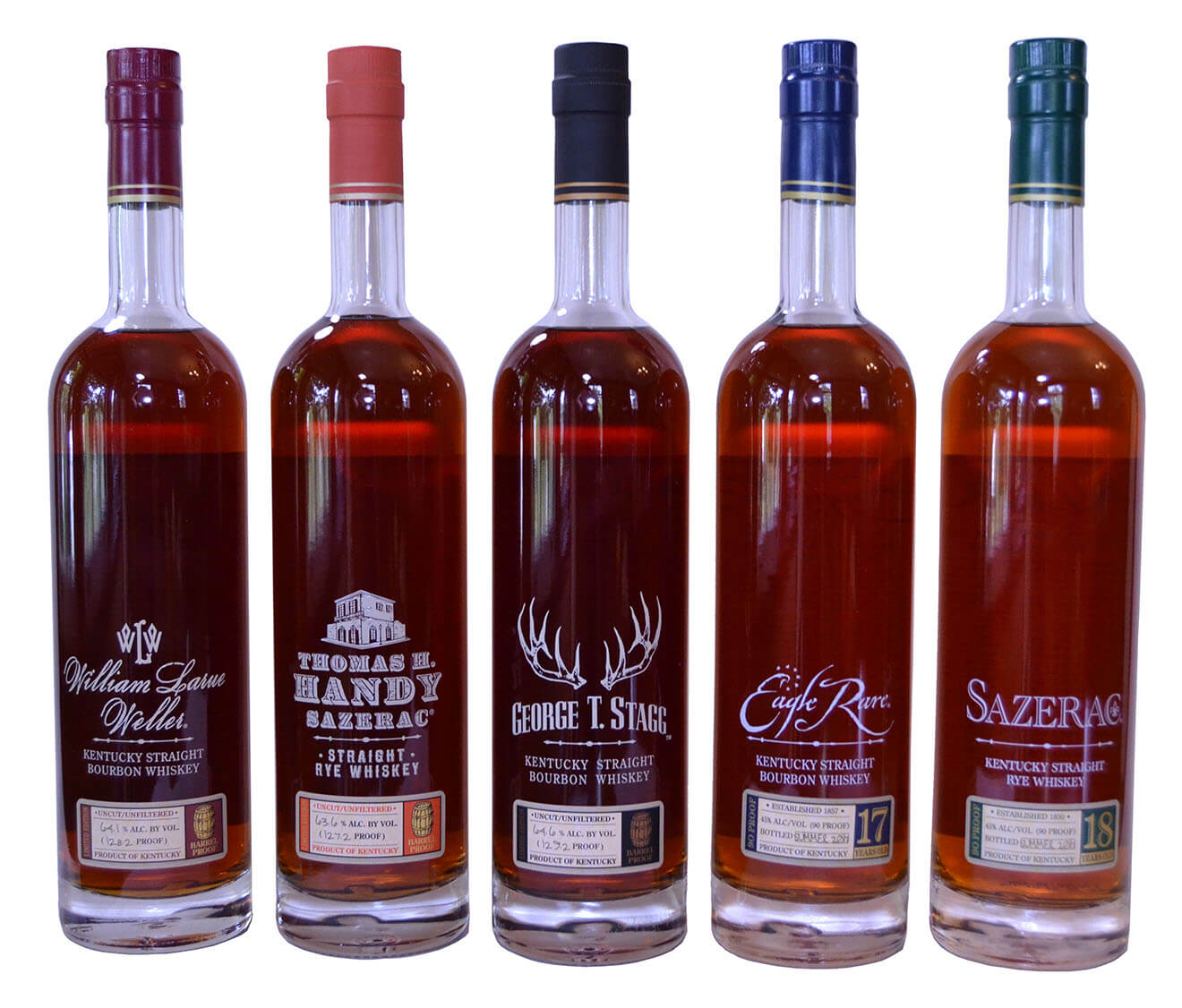 Buffalo Trace Antique Collection, bottles on white