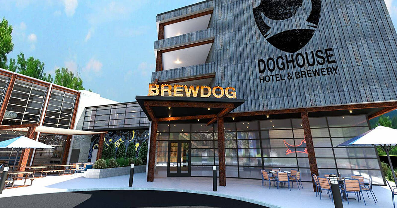 Doghouse Hotel & Brewery, front entrance